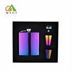 2018 new Electroplated Dazzle Colour 6oz steel hip Flask executive Gift Set
