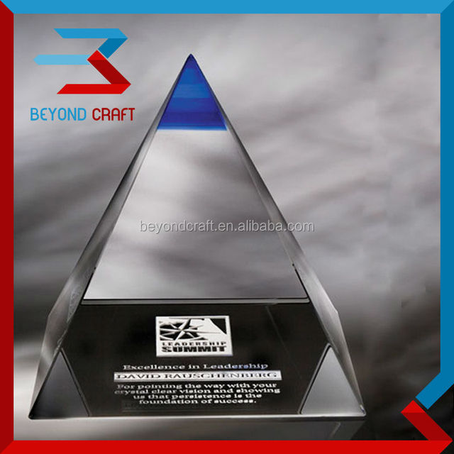 Crystal corporate awards trophy,crystal pyramid plaque trophy