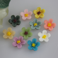Jewelry accessories loose 8*5MM no hole various colors Mini flower charms flat back resins wholesale