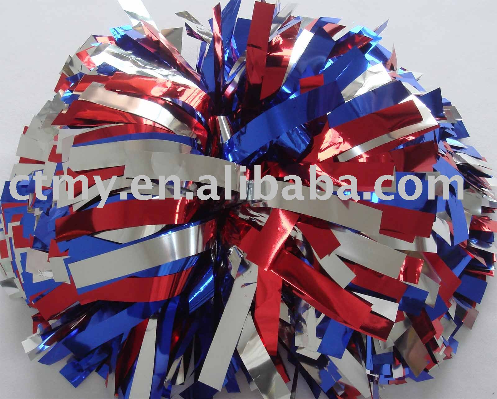 metallic cheerleader pompoms