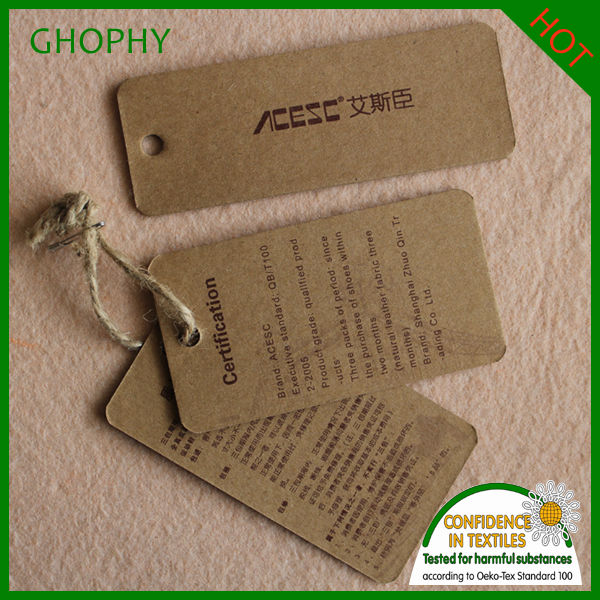 jeans hangtag new design in kraft paper