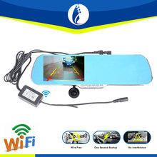 "hot sale 5.0"" Android FHD 1080P car Camera with gps Parking Car Dvr Rearview Mirror Video Recorder wireless Dual Camera car dvr"