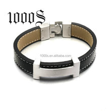 Hot Sale Men Leather Stainless Steel Engrave Customer's Logo Bracelet Wholesales