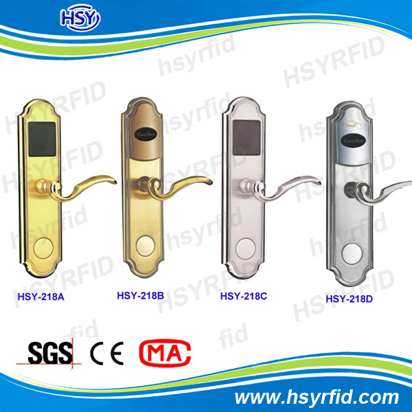House Room hotel door handle locks with reading cards