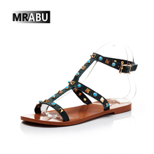 black brown stylish rivets flat genuine leather gladiator sandals women shoes