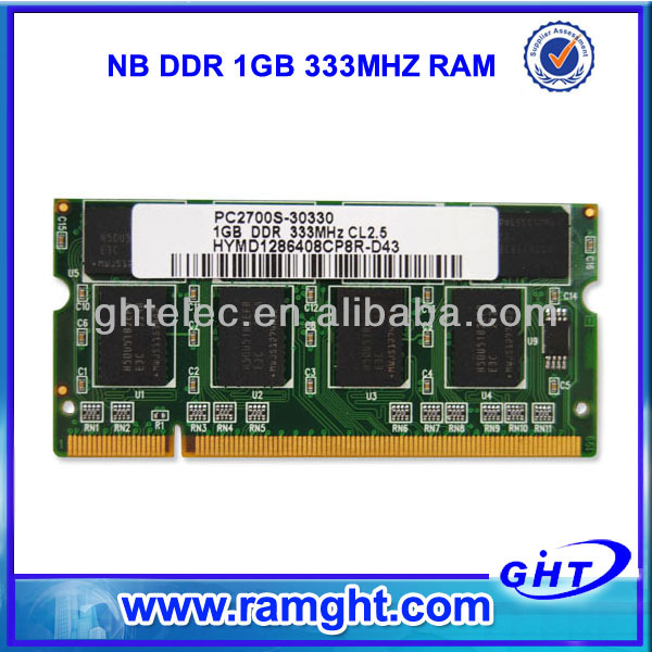 China motherboards ddr 1gb pc2700 memory 333 mhz laptop ram