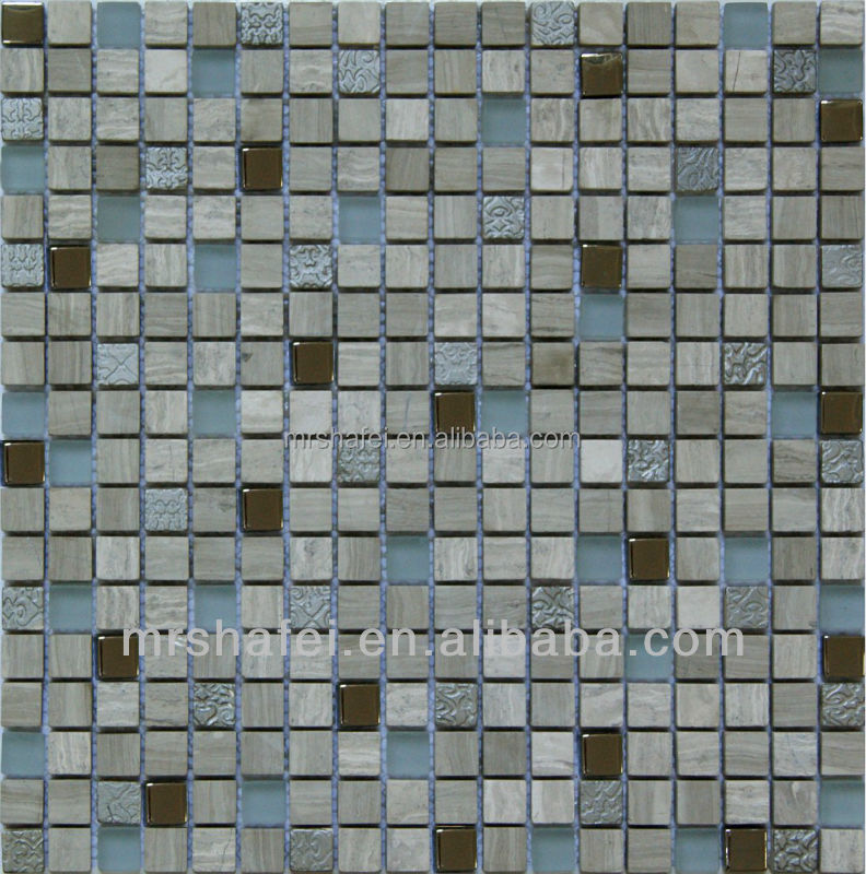 Crystal glass mix stone mosaic tile for bathroom