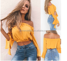 winner 2017 Newest Designer Blouse Women Fashion Sexy Summer Tops Casual Off the Shoulder Long Bell-sleeve Crop Blouse