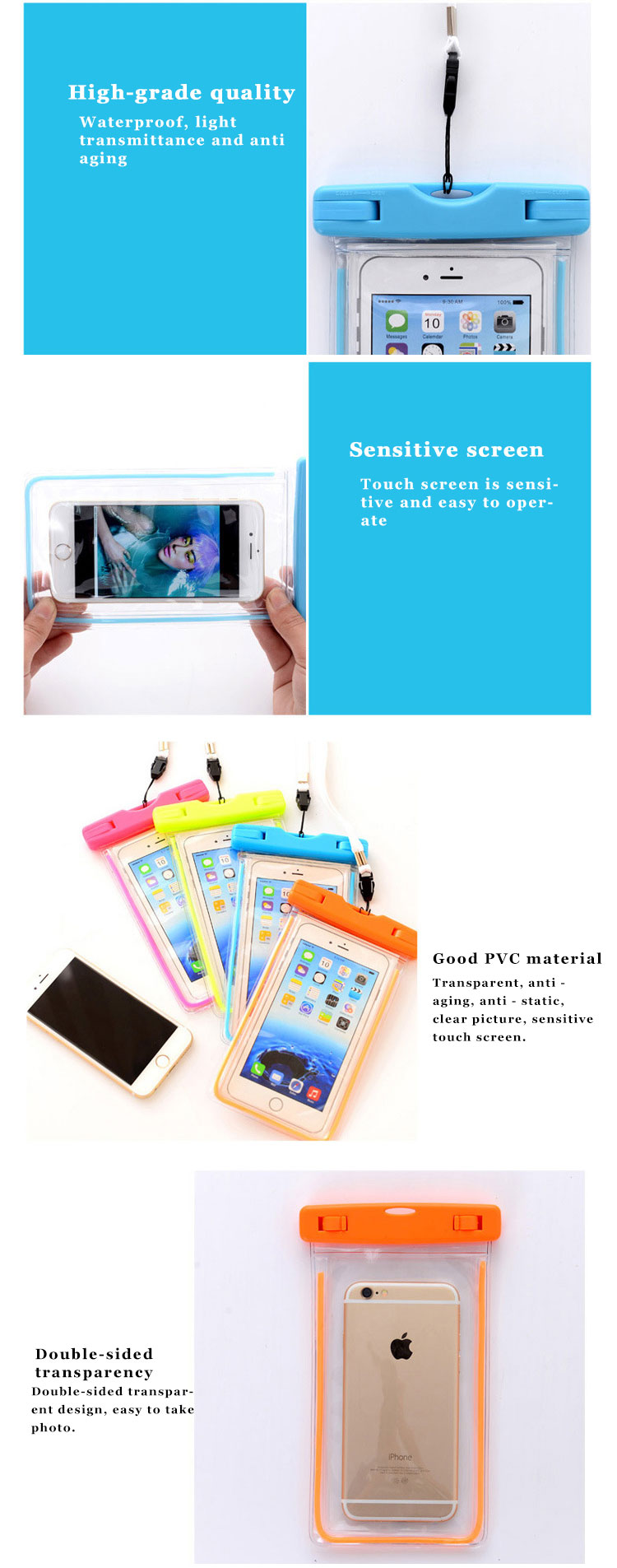 pvc mobile cell phone waterproof plastic polyester sports bag for phone (4)