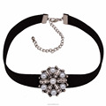 Simple pearl flower shape leather wide choker necklace jewelries