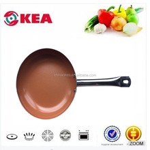 Popular product Kitchenware cookware cooper frying pan with stainless steel handle