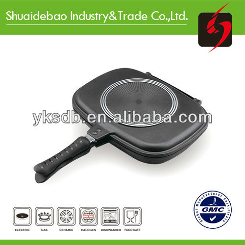 double side cast aluminum grill pan,555 cooking pot/fry pan with on stick