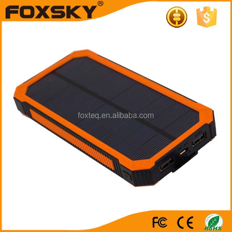 Outdoor travel waterproof portable solar power bank battery for mobile phone charger
