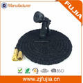 50ft Black Expandable Garden Hose - Strongest Double Latex Brass Valve Fitting - 8 Function Spray Gun-Magic Hose Pipe