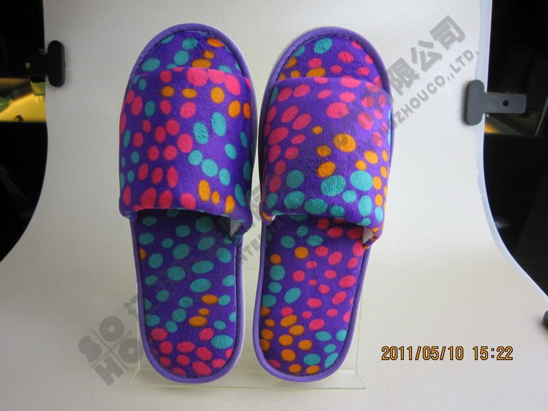 Soft Velour Slipper open toe plush cloth shoe
