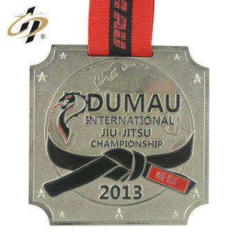 Free sample custom stamping design your own logo judo championship metal medal