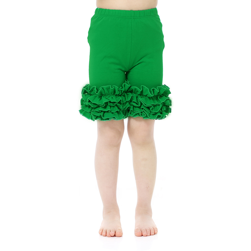 wholesales girls boutique clothing St. Patrick's Day outfit solid color ruffle trimmed shorts cotton