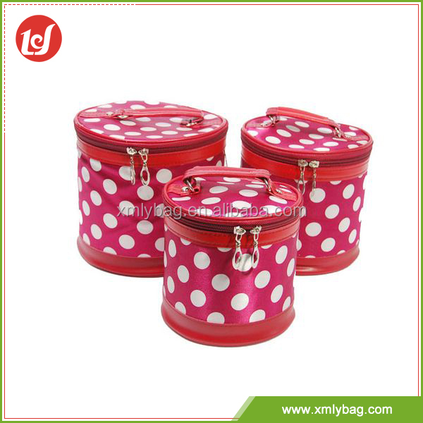 Old fashioned round red dot pattern satin korean cosmetic bag