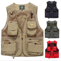 Adjustable Jacket With Mesh Back & Multiple Large Pockets Lightweight Strong Cord Zippers Breathable Comfortable Fishing Vest