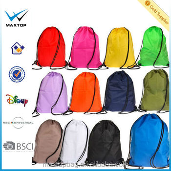 Customized printing polyester drawstring backpack, promotional cotton drawstring shoe bag