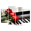 Red Rose on Piano Modern 4 Panels Floral Printed Canvas Art Prints Flowers Music Wall Pictures for Living Room