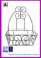 Decorative wrought iron wall hung black patio baskets and planters with coconut liner OP03002