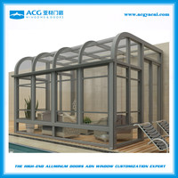 outdoor aluminum frame glass sunroom