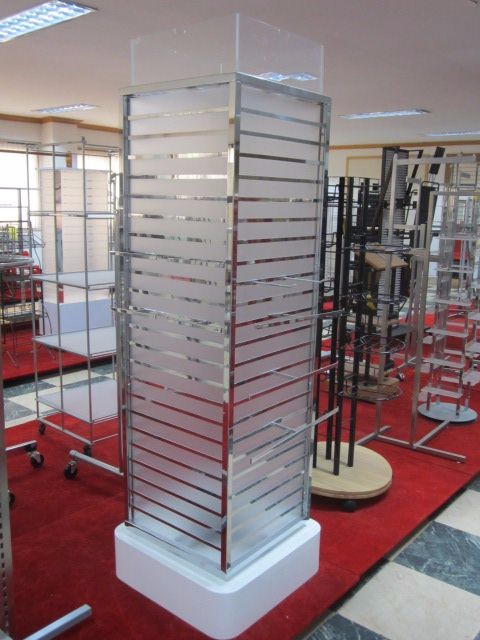 Store display of mobile phone display stand to wall shelf design