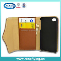 mobile phone accessory wallet flip leather case for iphone 4g