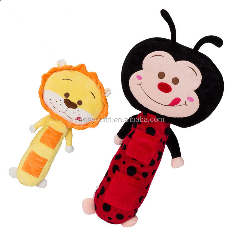 plush safety belt toy for kids / plush ladybug seat belt pet toy