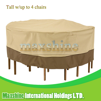 Garden Weatherproof Tall Round Table and 4 Tall Chairs Set Furniture Cover