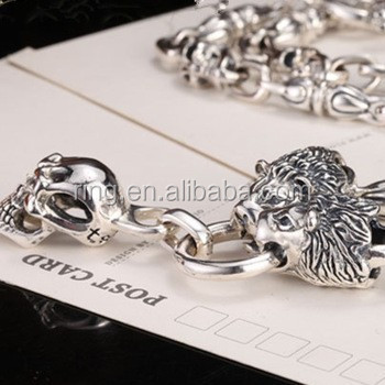 Exclusive Sale High Quality 925 Sterling Silver Lion Skull Necklace Chain For Men Biker Punk Party King Jewelry
