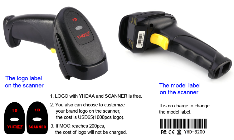 Handheld Laser 1D Barcode Scanner Wired Automatic Scanning USB Bar code Reader Scanner OEM
