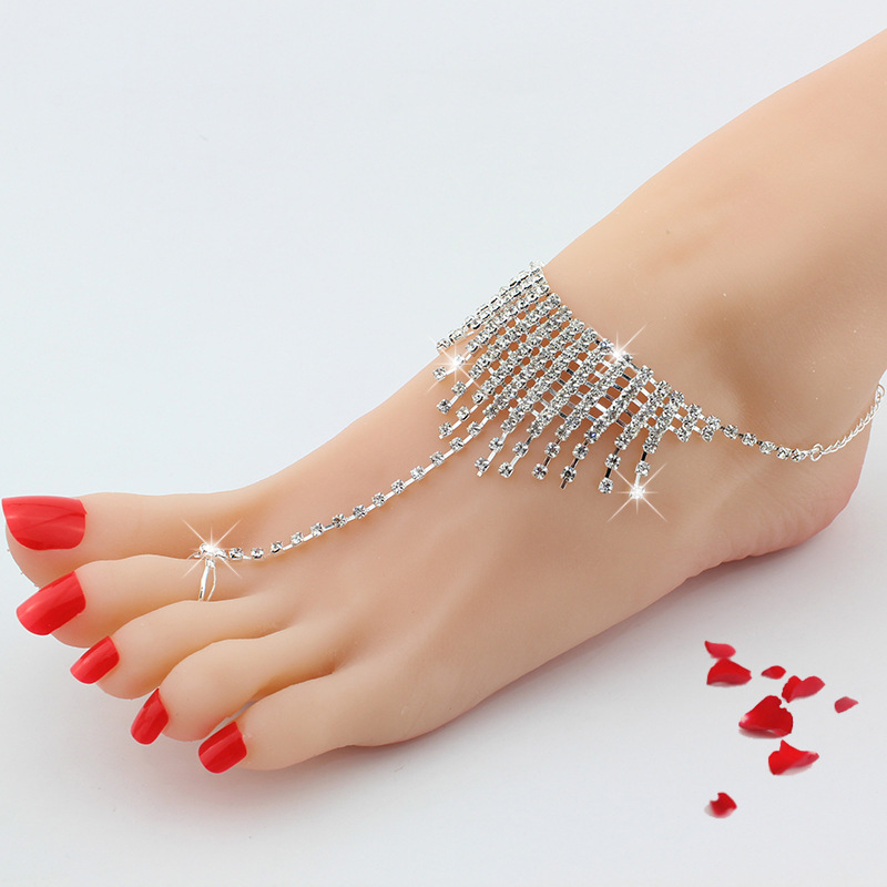 wholesale fashion jewelry crystal Barefoot Sandals anklet with toe ring