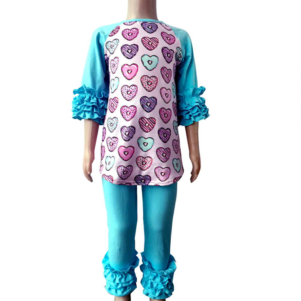 Fashion latest designFold sleeve top and legging kids clothing wholesale