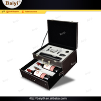 High Quality PU Leather Bottle Container Wine Box with Battery Powered Wine Opener Kit