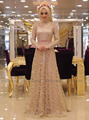 Muslim Lace Evening Dresses with Long Sleeves Floor Length Champagne Long Formal Evening Gown