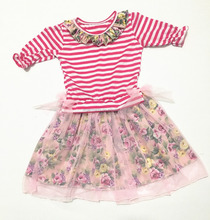wholesale price new model cheap girl dress kid Striped with short sleve fashion summer girls dress