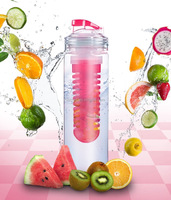 700ml flavor infuser water bottle , fruit infusion water bottle with filp lids