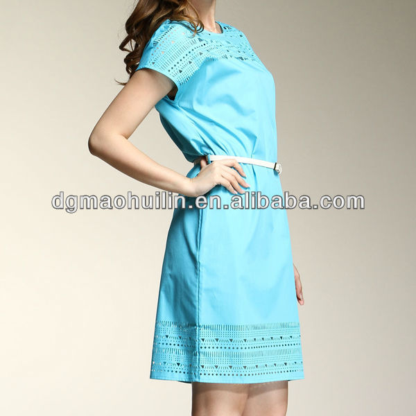 elegant office lady laser cut blue ladies official dresses