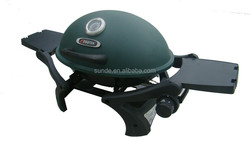 Green Round Small Barbecue Gas Grill with 2 Folding Tables