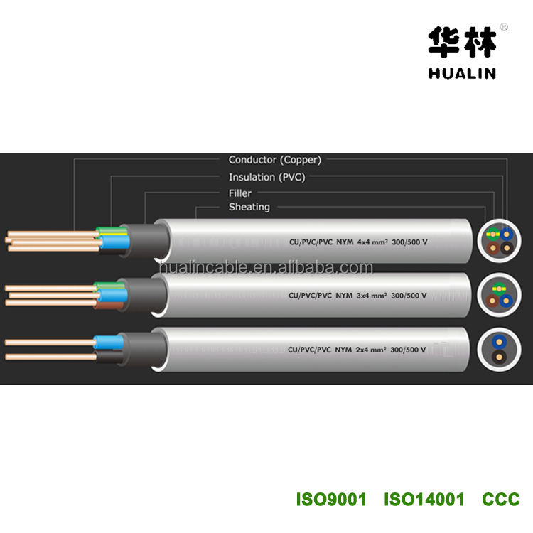 HUALIN 2 core 3 core 4 core 4mm flexible Kabel NYM NYM-J NYM-O Electrical Cable