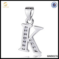 2016 Newest Fashion Simple Sterling Silver alphabet Pendant, 26 Letter Pendant Jewelry