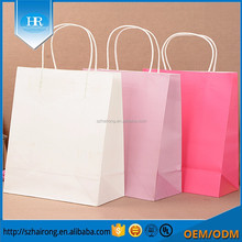 Medium Size kraft paper solid candy color paper Christmas gift bag party handle