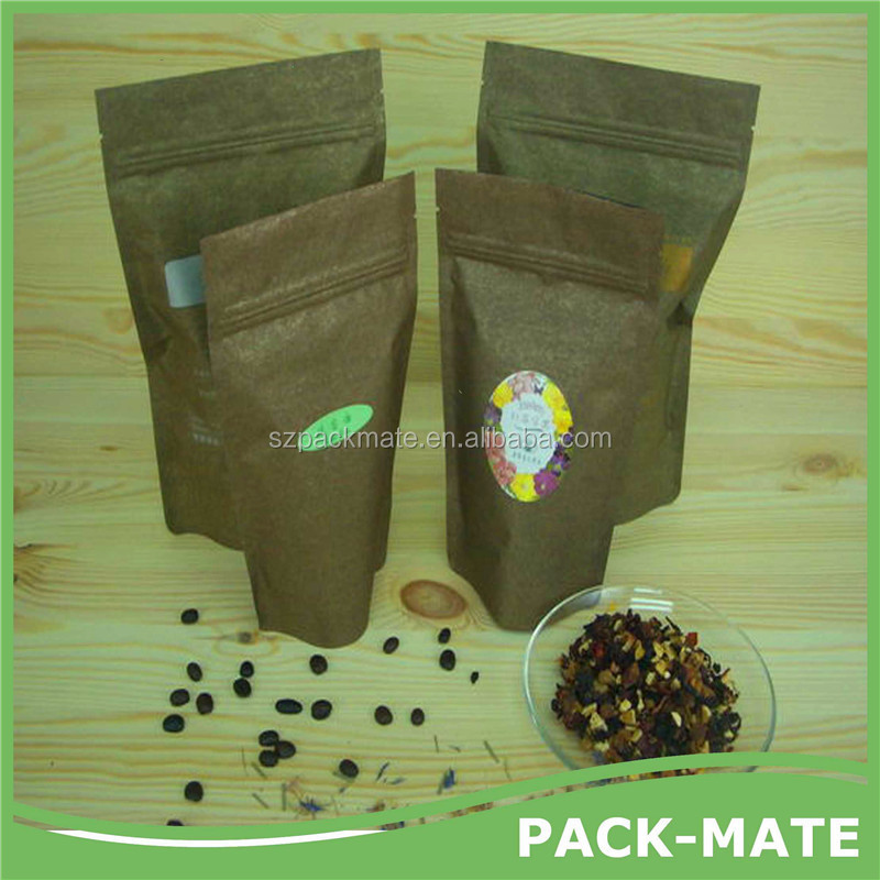 packmate 2015 Quick delivery,factory price!Customized brown kraft paper seeds food packing bag with zipper for seeds