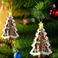 3D Wooden Christmas Decoration Xmas Tree Pendant Embellishments Hanging Home Party Bauble Decoration Ornaments