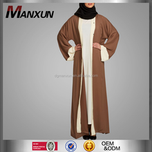 Simple Style Muslim Open Front Abaya Latest Designs Turkish Islamic Clothes High Quality Dubai Abaya Kimono With Belt