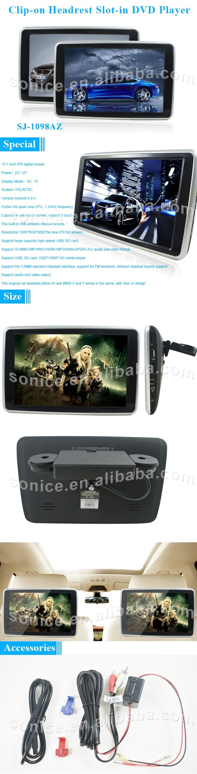 10.1 inch android headrest monitor with android system high resolution
