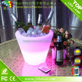 Rechargeable PE plastic led night club ice bucket