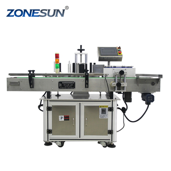 ZONESUN Automatic Wine Water Oil Juice Glass Pet Round Bottle Packing Labelling Machine